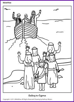 Coloring (Sailing to Cyprus-Paul)- Kids Korner - BibleWise