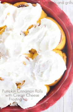 Pumpkin Cinnamon Rolls with Cream Cheese Frosting. #breakfast http://www.highheelsandgrills.com/2014/09/pumpkin-cinnamon-rolls-with-cream.html
