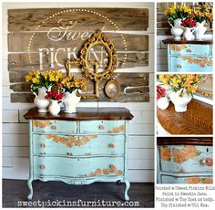 Sweetie Jane by Sweet Pickins Milk Paint using the floral napkin technique.