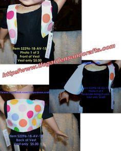 Pink lined, Fun & Colorful Polka Dot Vest for AG Style 18 inch doll Item S-2296-18-AV-15