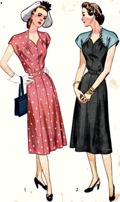 1940s Day Frock Pattern  SIMPLICITY 2126  Raglan Sleeves  Heart Shaped Neckline  WWII Era Vintage Sewing Pattern  Bust 40