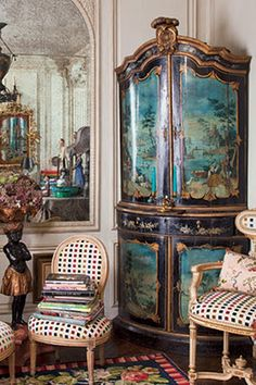 This piece is a priceless antique, but this link shows a faux painted dresser...kcfauxdesign.com: How to paint French Provencial Furniture