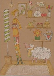 Dessin et coloriage Faber-Castell polychromos  Prismacolor Papier bristol Mrs Pettycoat draw art Mrs Pettycoat 12