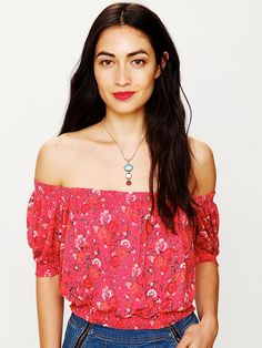 Free People Printed Gypsy Off the Shoulder Top