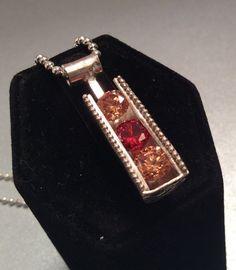 Sterling silver channel set pendant