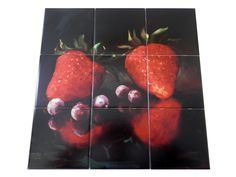 Strawberries 2 - Tile Mural Digitally reproduced for tiles and depicts a still life of 2 strawberries and some blueberries. This fruit and vegetable themed tile mural is perfect to add interest to your kitchen splashback tile project. Images of fruits and vegetables on tile are timeless and make an impressive kitchen backsplash idea. Wall tiles with pictures of fruits and vegetables add interest to your kitchen backsplash wall tile project.