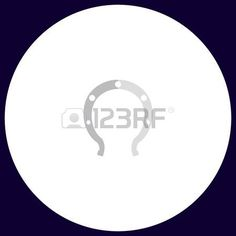 Horseshoe Simple vector button. Illustration symbol. Color flat icon photo