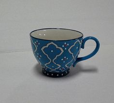 New Dutch Wax Blue Handpainted Ceramic Mug by Coastline Imports, Coffee Cup