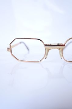 4a86b6f6bf3 Vintage Hexagon Gold Wire Rim Eyeglasses Gold Wire Frame