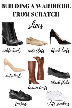 Here's how to build a wardrobe from scratch starting with your shoes. Your capsule minimalist wardrobe is just one step away! essentials How to Build a Wardrobe from Scratch - MY CHIC OBSESSION Capsule Wardrobe Mom, Capsule Outfits, Build A Wardrobe, Shoe Wardrobe, Fashion Capsule, Wardrobe Basics, Office Wardrobe, Professional Wardrobe, Wardrobe Staples
