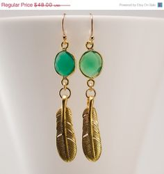 Green Onyx Earrings  Gold Bird Feather Earrings  Bezel by delezhen