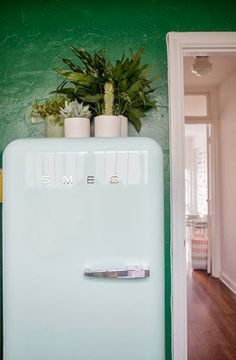 the cutest light blue fridge