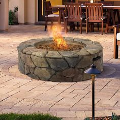 BCP Stone Design Fire Pit Outdoor Home Patio Gas Firepit | Best Choice Products