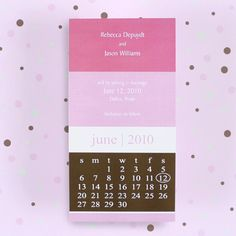 Calendar wedding invite