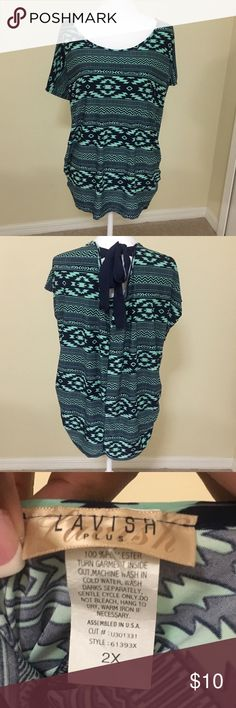 Plus size blouse Fresh and perfect for a pair of jeans. Navy blue and mint Tops Blouses