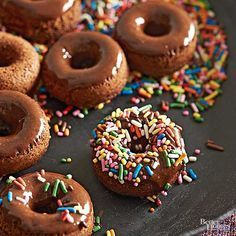 Make a traditional chocolate cake doughnut at home! Our quick and easy recipe turns our 20 homemade mini doughnuts for a breakfast or brunch to please kids and adults. A yummy chocolate glaze tops the cake doughnut for just the perfect flavor. And don't forget the sprinkles!