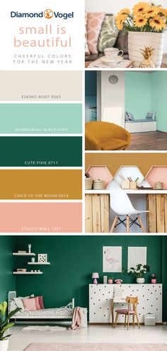 With the festivities coming to an end, heading back to work or college grows inevitably closer. Start the new year off right with this cheerful color scheme perfect for studio Read Mint Green Rooms, Green Room Colors, Emerald Green Bedrooms, Green Wall Color, Green Paint Colors, Mint Color Palettes, Color Schemes Colour Palettes, Green Color Schemes, Room Color Schemes