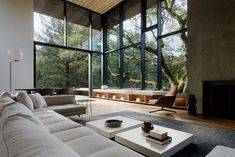 [Room] Tall and spacious living room opening up to a patio and garden surrounded with mature oak trees, Orinda, Contra Costa County, California - Dream house - Garden Floor Home Interior Design, Interior Architecture, Modern Home Design, Modern Home Interior, Interior Colors, Scandinavian Interior, Contemporary Interior, Room Interior, Beach House Decor