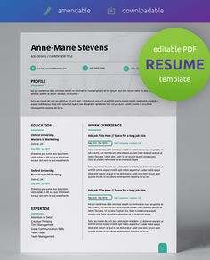 Get this professionally pre-designed, editable resume template PDF! This outstanding modern, double page CV design is easy to use and edit!