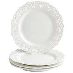 Pier 1: doily plate, $6...would be fun to have the salad size as an accent plate for special occasions  {Dear Lillie has these and put a vinyl silhouette on each one}