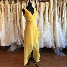 Wedding Trends - Gorgeous high-low yellow chiffon bridesmaid dress with tie back detail. Size 12 (Runs Small) Bridesmaids, Bridesmaid Dresses, Wedding Trends, High Low, Size 12, Chiffon, Tie, Boutique, Bridal