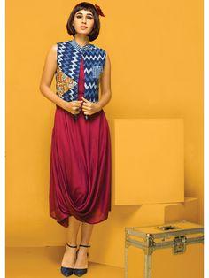 Nidhi Fashion Blue & Maroon Cotton Kurti with Jacket