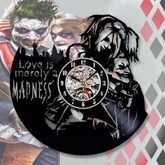 Harley Quinn Decal Love Joker Wall Clock - Decorate your home with Modern Large Suicide Squad Art - Best gift for Him and Her - Joker Und Harley Quinn, Margot Robbie Harley Quinn, Wall Clock Price, Jared Leto Joker, Captain Boomerang, Killer Croc, Best Gifts For Him, Deadshot, Arkham Knight