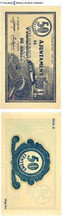 Vilassar de Dalt  - 50 cts. : Ajuntament de Vilassar de Dalt, 50 cèntims :: Paper moneda del Pavelló de la República (Universitat de Barcelona) Balearic Islands, Baseball Cards, Spain, Period