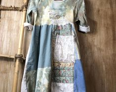 Repurposed women's dress/tunic, up cycled, patchwork, shabby chic, T-shirt dress, comfortable & easy to wear, recycled clothing, handmade