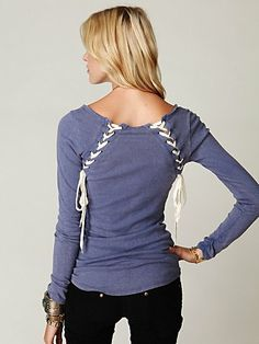 Lace Up Back Layering Top. I wud lace down to up and tie it with bow on neckline