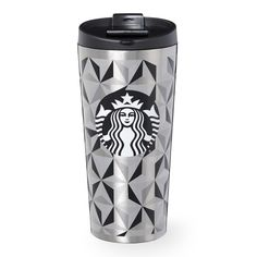 An insulating stainless steel tumbler with a geometric pattern, part of the Starbucks Dot Collection.