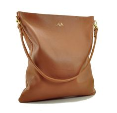 TAN Monogrammed Leather Tote Black Leather by AnythingbutPlainJane