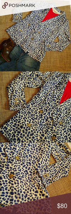 """Anthropologie blazer NWT, NEW authentic brand, blue leopard  blazer, Cartonnier for Anthropologie. Tags attached.  Faux pockets, super light, fabric cotton, rayon and polyester, fully lined. Lenght 26"""" approx, pit to pit 17"""" approx Anthropologie Jackets & Coats"""