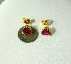 Yellow Gold Plated Earrings 9k Womens Girls Ruby Red Gemstone Heart Stud   #Unbranded #Studearrings