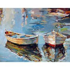 〰〰〰〰〰 • 'Small Boats I' •  Oil on canvas • ➖  Artist:  Georgi Kolarov ➖   www.georgikolarov.com: #OilPaintingBoat #OilPaintingWater