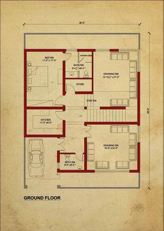A floor plan is a type of drawing that shows you the layout of a home or property. Floor plans typically illustrate the location of walls, windows, doors, 2bhk House Plan, Model House Plan, House Layout Plans, Duplex House Plans, House Plans One Story, Bedroom House Plans, New House Plans, House Floor Plans, House Construction Plan