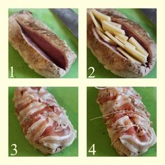 Baked pork tenderloin - stuffed with cheese and .-Filetto di maiale al forno morbido – farcito con formaggio e pancetta Baked pork tenderloin – stuffed with cheese and bacon – - Pork Recipes, Snack Recipes, Baked Pork, Pork Loin, Vegetable Dishes, Hot Dog Buns, Italian Recipes, Cravings, Food And Drink