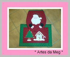 Conjunto para deixar seu lavabo/banheiro com a cara do natal. Peças confeccionadas com tecidos 100% algodão. R$139,00