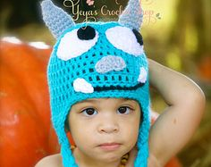 Monsters Inc Crochet Hat,  Sulley with Strands, Baby Accessories, Halloween, Infant Hat ,toddler, Photo Prop