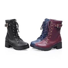 Women's Shoes Round Toe Chunky Heel Mid-Calf  Boots More Colors available – USD $ 34.99