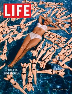 Life Magazine Copyright 1958 At Home Jayne Mansfield - Mad Men Art: The 1891-1970 Vintage Advertisement Art Collection