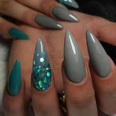 Gray blue glitter mermaid nails