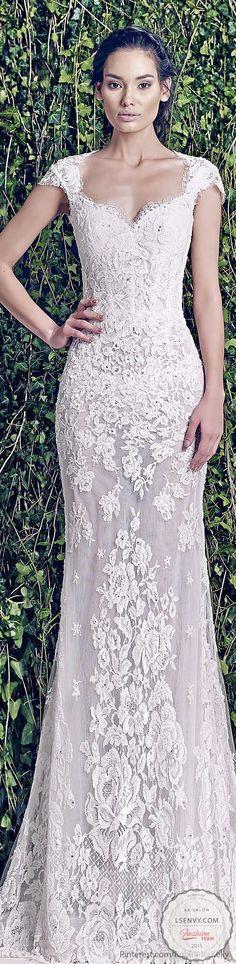Want romantic and vintage? Cap sleeves, lace and a subtle fit make it easy. #weddings #weddingdresses #weddinggown #bridal #brides #lesalonbridal #vneck #capsleeves #lace #romantic #vintage #fitted