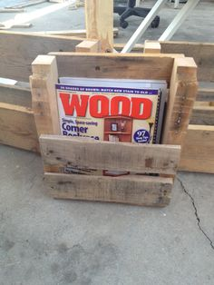 Magazine Racks: Recycled Pallet Shelves. $15.00, via Etsy.