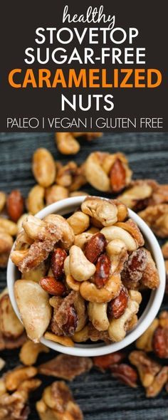 Sugar Free Caramelized Nuts- A sugar free caramelised nut recipe which takes less than 10 minutes and is gluten free, paleo and diabetic friendly! Acai Recipes, Nut Recipes, Low Carb Recipes, Snack Recipes, Cooking Recipes, Healthy Recipes, Healthy Foods, Vegan Snacks, Healthy Treats