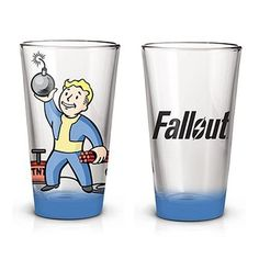 Work on your Demolitions skill! This Fallout Vault Boy Pint Glass features the popular Vault Boy from the hit Fallout video game series. Holds up to 16 ounces of liquid.