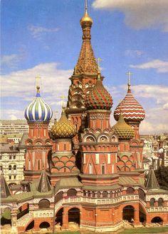 Moskou. De H. Basilius kerk. Oude postkaart.