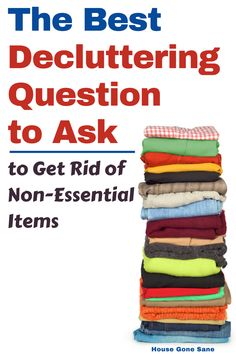 Are you looking for decluttering questions that actually work?? This is the BEST decluttering quesiton to ask if you want to get rid of things you don't need. You can motivate yourself to declutter and stop procrastinating. Check out episode 6 of the House Gone Sane Podcast or Post here which you can click to read or listen to. #decluttering #clutterfree #organizationtipsformoms #cleaningtips Daily Cleaning, Cleaning Checklist, House Cleaning Tips, Cleaning Hacks, Questions To Ask, This Or That Questions, House Is A Mess, Getting Rid Of Clutter, Paper Clutter