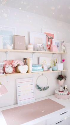 Small Room Design Bedroom, Bedroom Decor For Teen Girls, Room Ideas Bedroom, Desk Decor Teen, Bedroom Desk, Girl Bedroom Designs, Home Room Design, Bedroom Office, Dressing Room Design