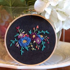 Floral Bouquet Embroidery Hoop - Blue and Purple Flowers on Black Suede